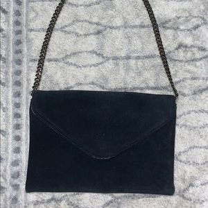 JCrew Black Suede Purse with Chain